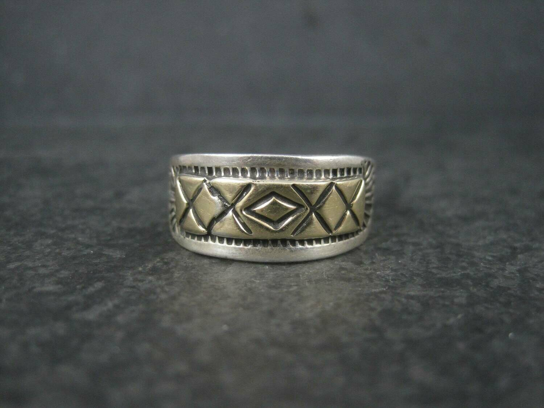 Vintage Southwestern Sterling 14K Band Ring Size 11.25