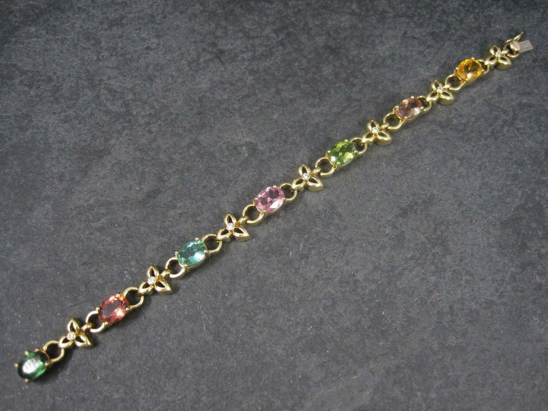 Vintage 18K 12 Carat Gemstone Diamond Bracelet 6.5 Inches