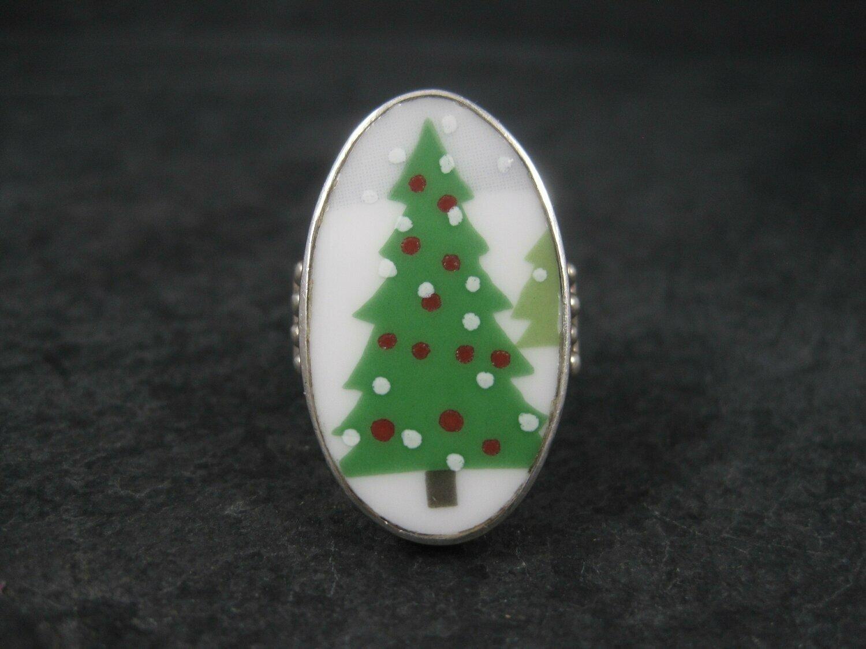 Vintage Sterling Porcelain Christmas Tree Ring Size 8