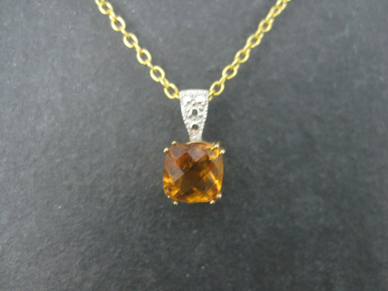 Dainty Vintage 14K Orange Citrine Pendant Necklace Clyde Duneier