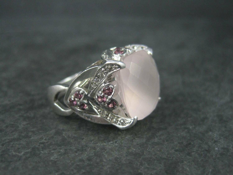 Vintage 90s Sterling Faceted Rose Quartz Ruby Ring Size 7.5