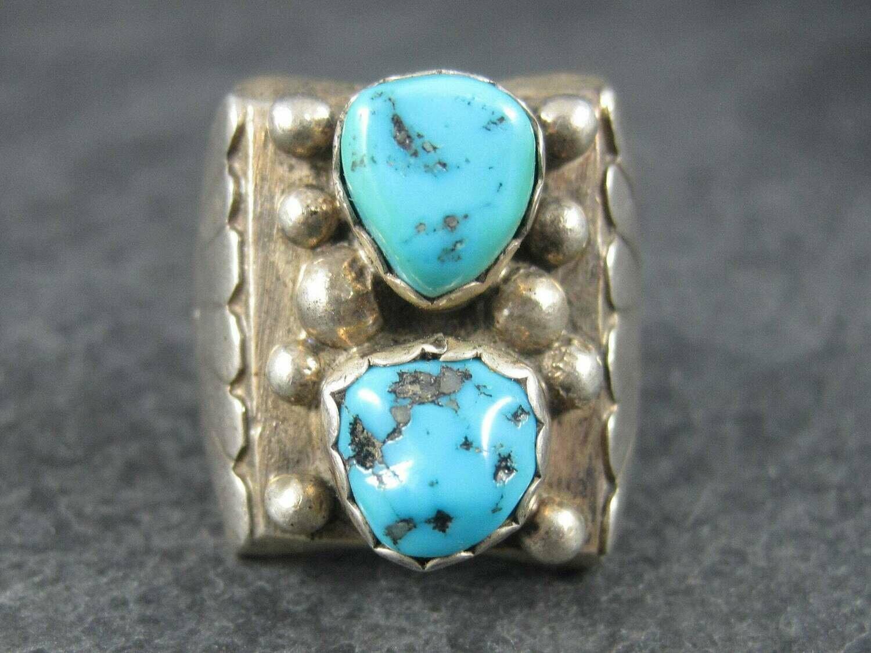 Heavy Vintage Navajo Turquoise Ring Size 10 Ella Cowboy
