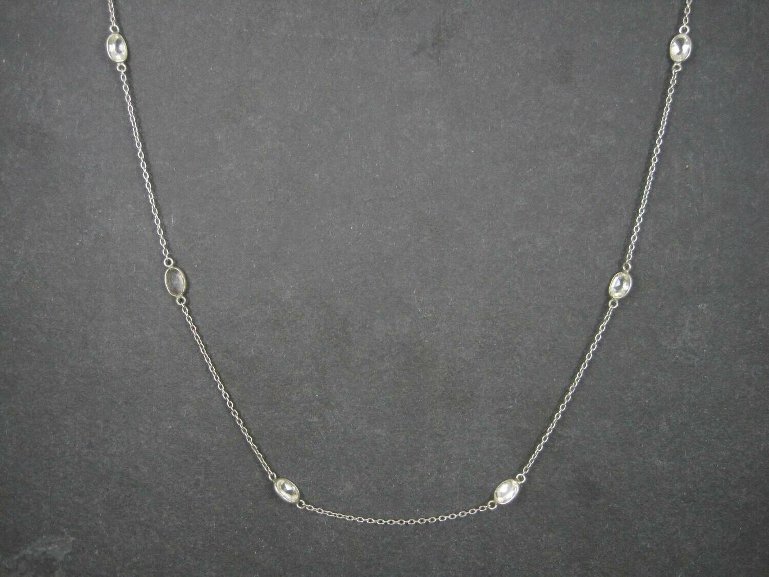 Vintage Sterling White Topaz Necklace 36 Inches
