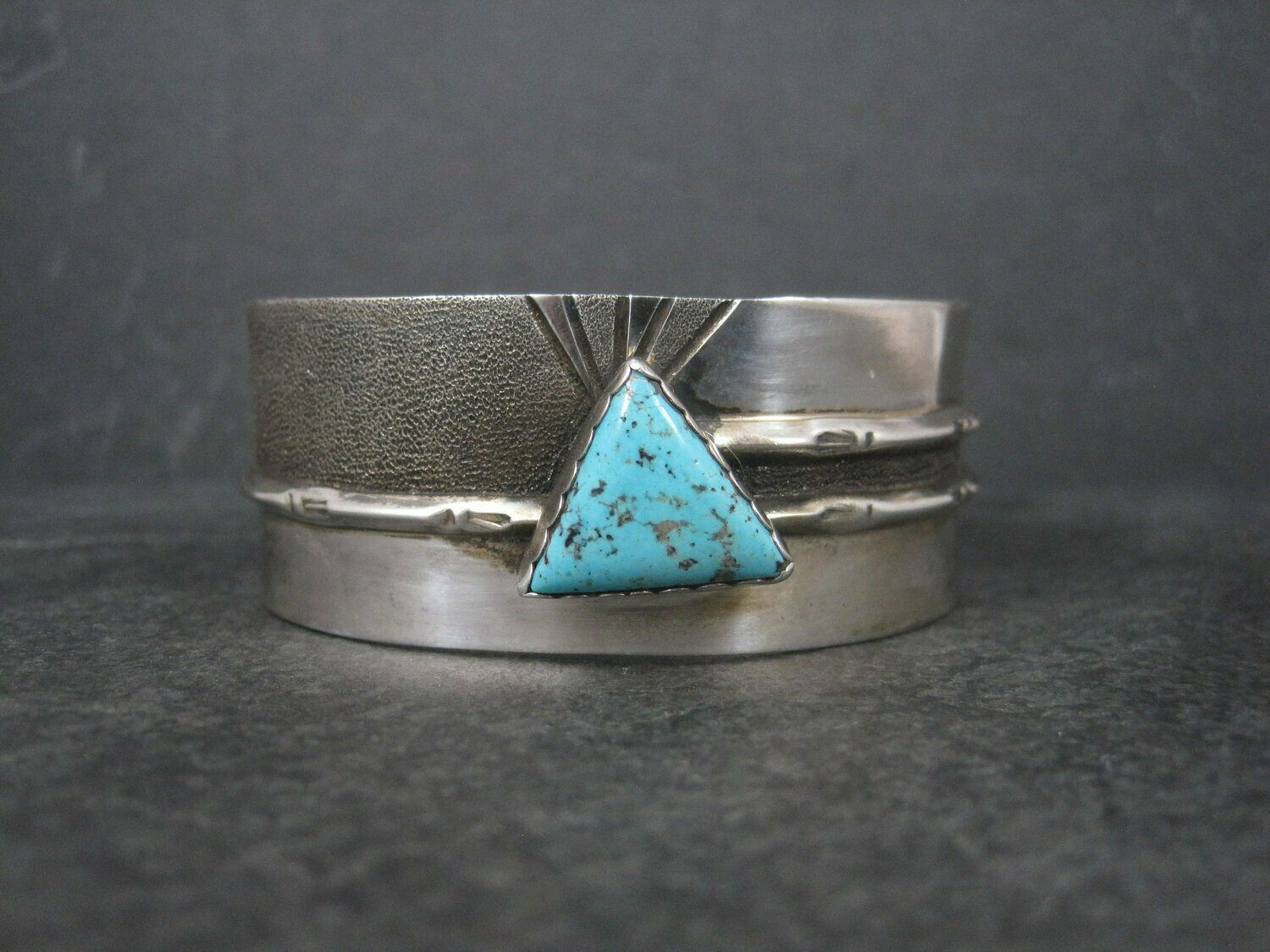 Vintage Sterling Navajo Turquoise Cuff Bracelet 6.5 Inches Rose Swett