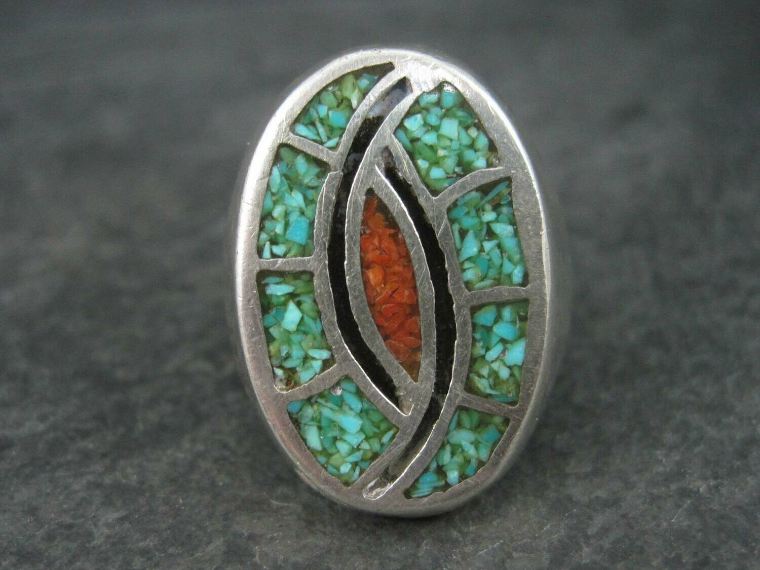 Mens Vintage Southwestern Hummingbird Coral Turquoise Chip Inlay Ring Size 11