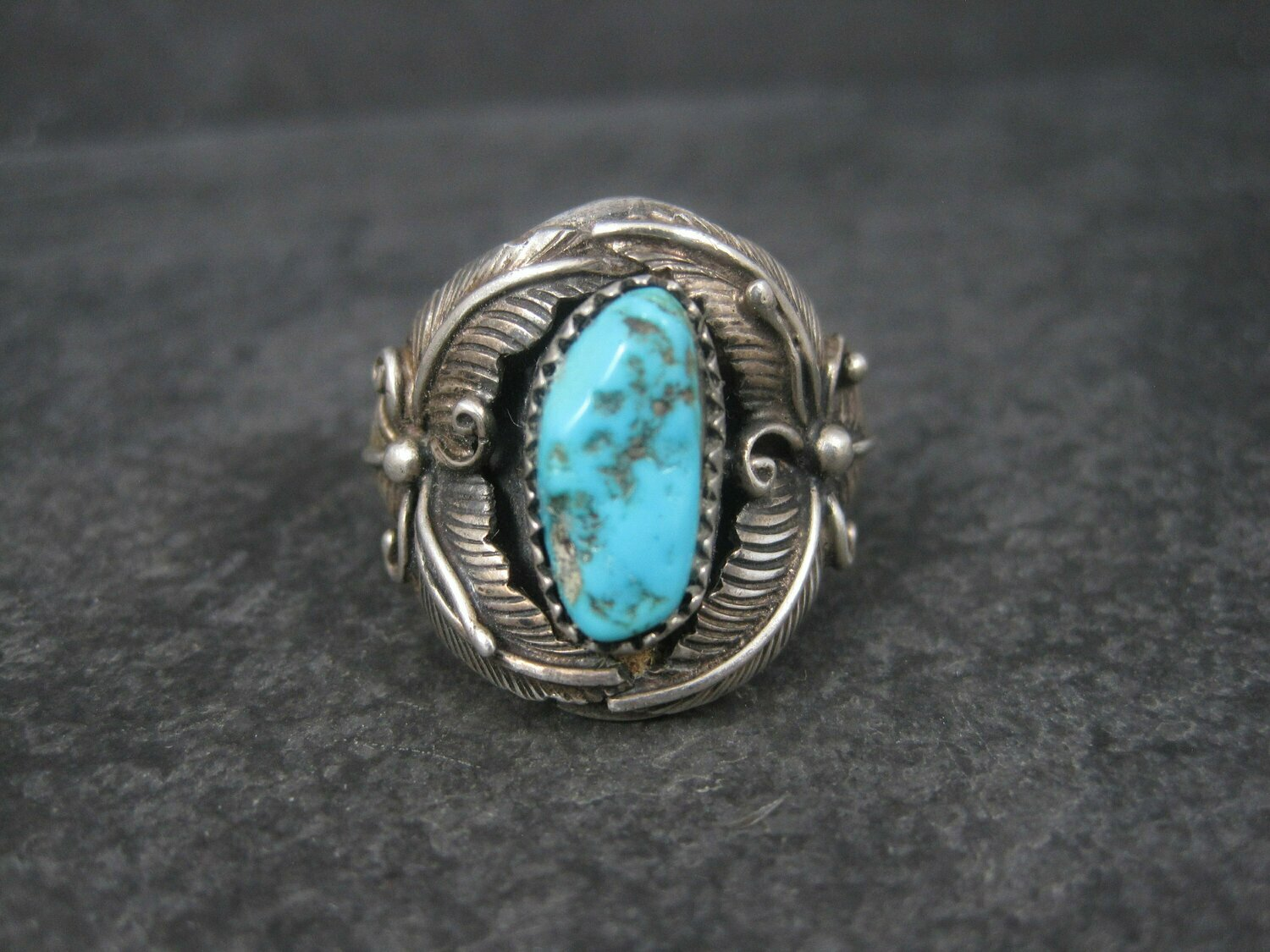 Vintage Turquoise Feather Ring Sterling Size 9