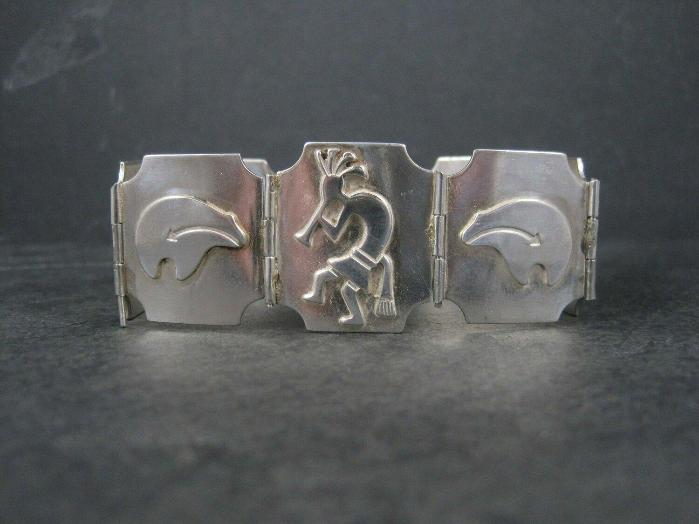Vintage Southwestern Sterling Kokopelli Bear Bracelet 7.5 Inches