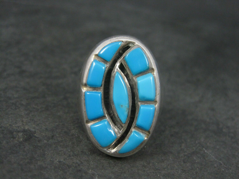 Large Vintage Southwestern Sterling Zuni Turquoise Hummingbird Ring Size 10.5
