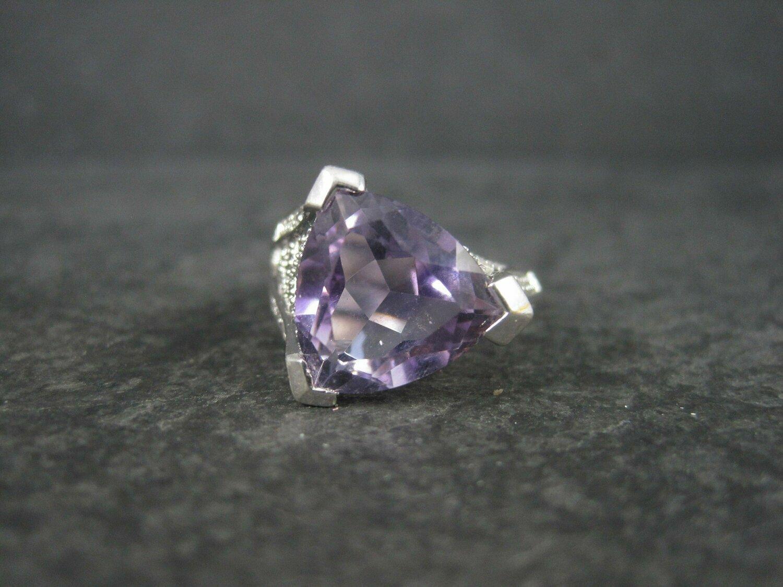 90s Vintage Sterling 5 Carat Amethyst Ring Size 8
