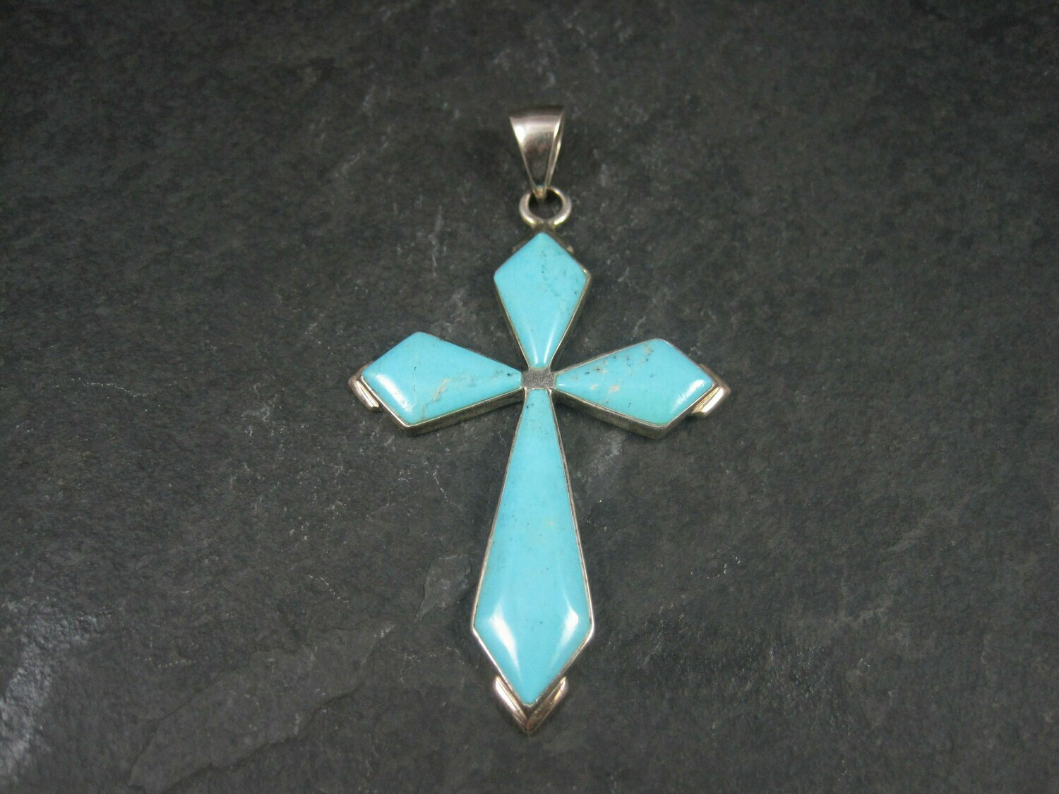 Large Vintage Sterling Turquoise Cross Pendant