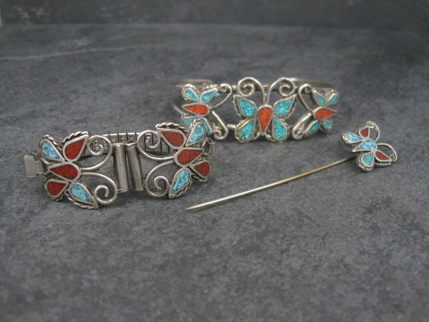 Vintage Southwestern Coral Turquoise Butterfly Jewelry Set Cuff Bracelet Stick Pin Watch Band