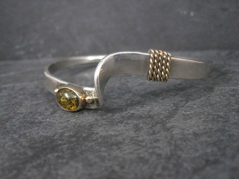 Vintage Navajo 14K Amber Cuff Bracelet Rick Enriquez 7 Inches