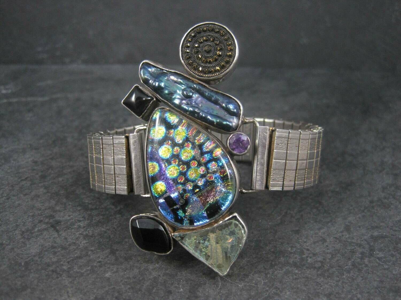 Huge Vintage Designer Art Glass Gemstone Biwa Pearl Bracelet