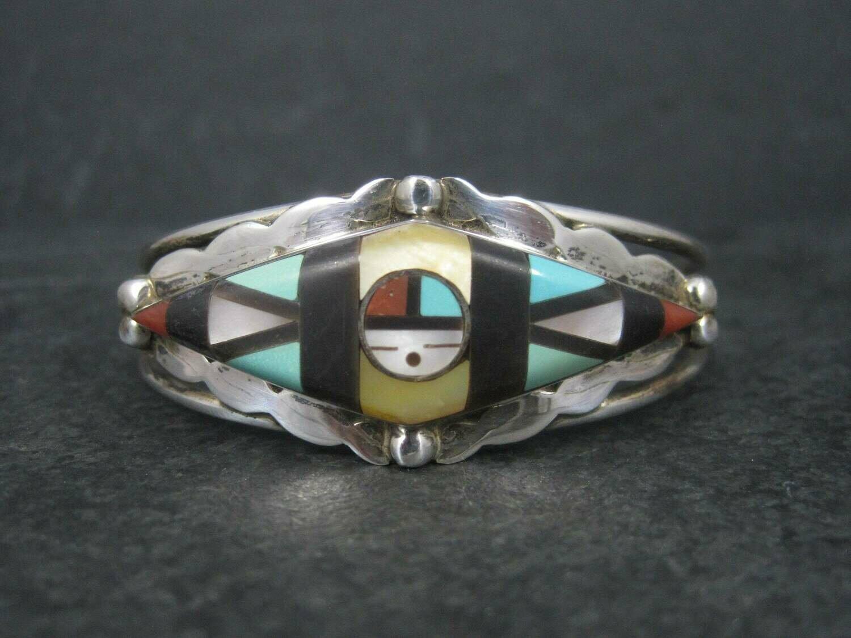 Vintage Zuni Sunface Inlay Cuff Bracelet Ernie Ohmsatte 6 Inches