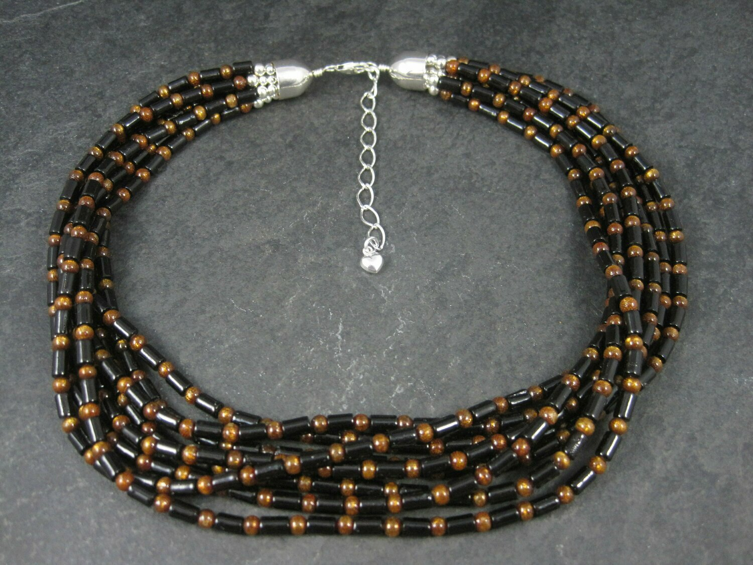 Vintage Southwestern 8 Strand Black Copper Bead Necklace 17-20 Inches