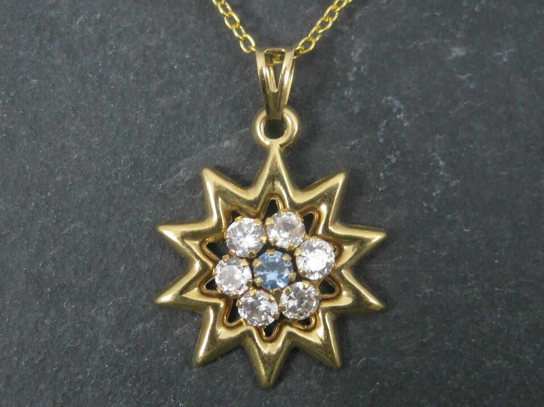 Vintage 18K Blue Zircon Starburst Pendant
