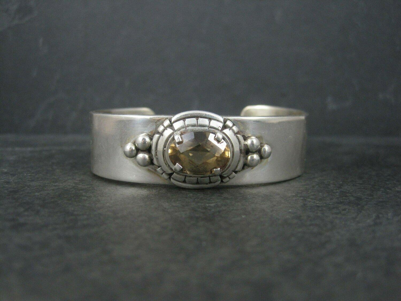 Heavy Southwestern Sterling Citrine Cuff Bracelet 6.5 Inches
