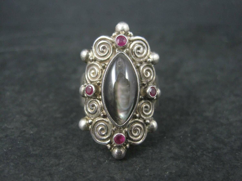 Vintage Sajen Black Mother of Pearl Ruby Ring Size 8
