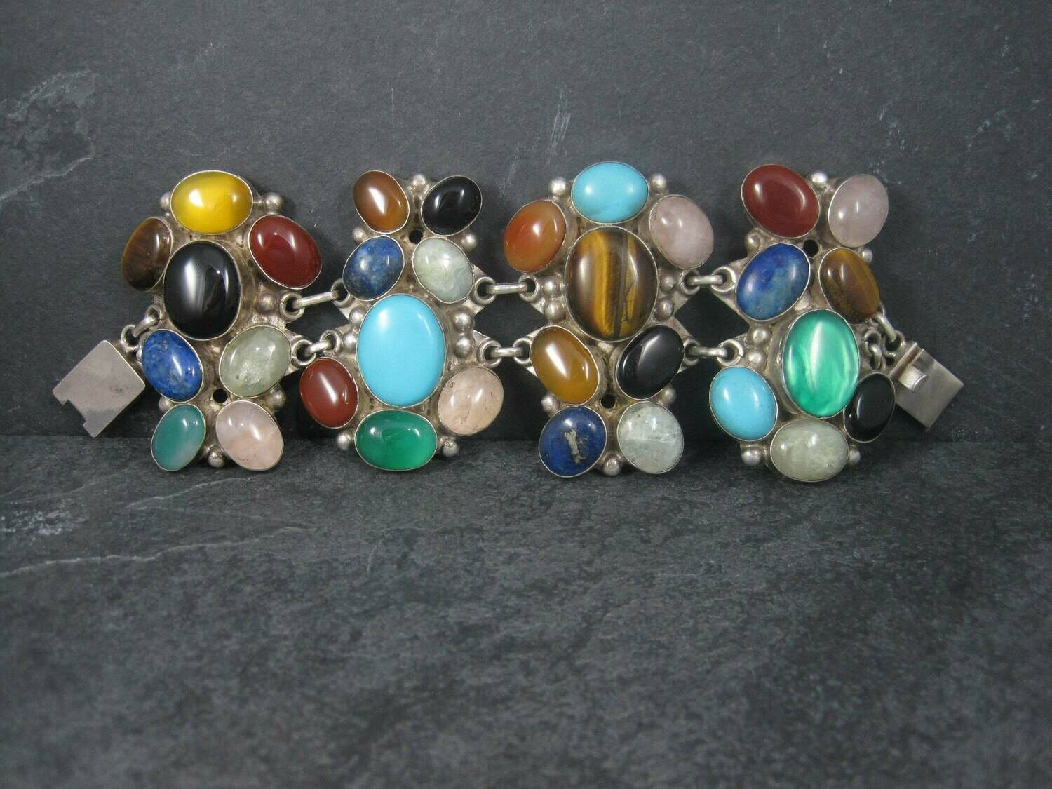 Massive Custom Multi Gemstone Statement Bracelet 7.5 Inches