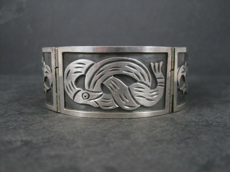 Vintage Mexican Sterling Snake Eagle Bracelet 7 Inches