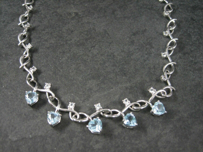 White Zircon Blue Topaz Heart Necklace 18 Inches