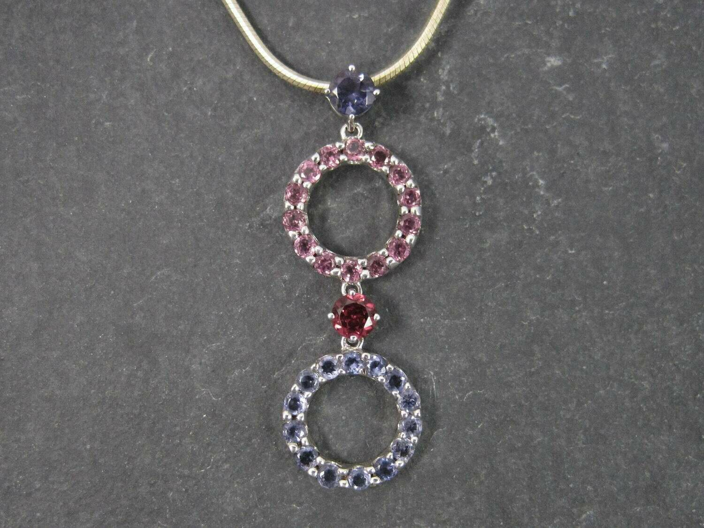 Iolite Pink Topaz Tourmaline Amethyst Pendant Necklace 10K White Gold
