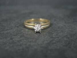 Simple Vintage 10K Diamond Illusion Solitaire Engagement Ring Size 6