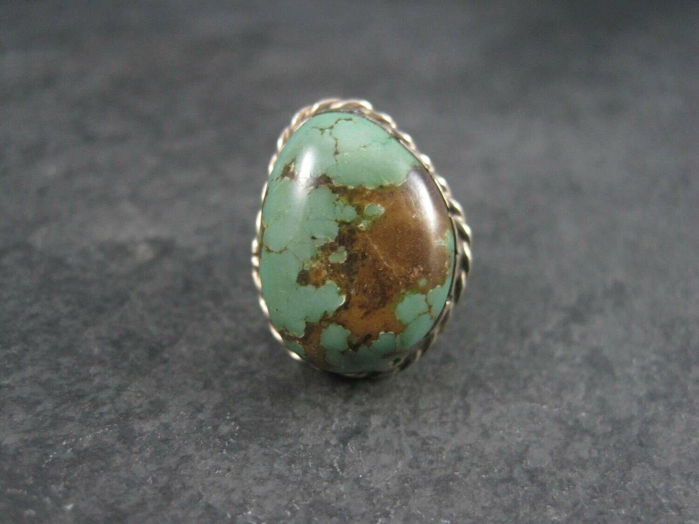 Large Vintage Southwestern Green Turquoise Ring Size 6