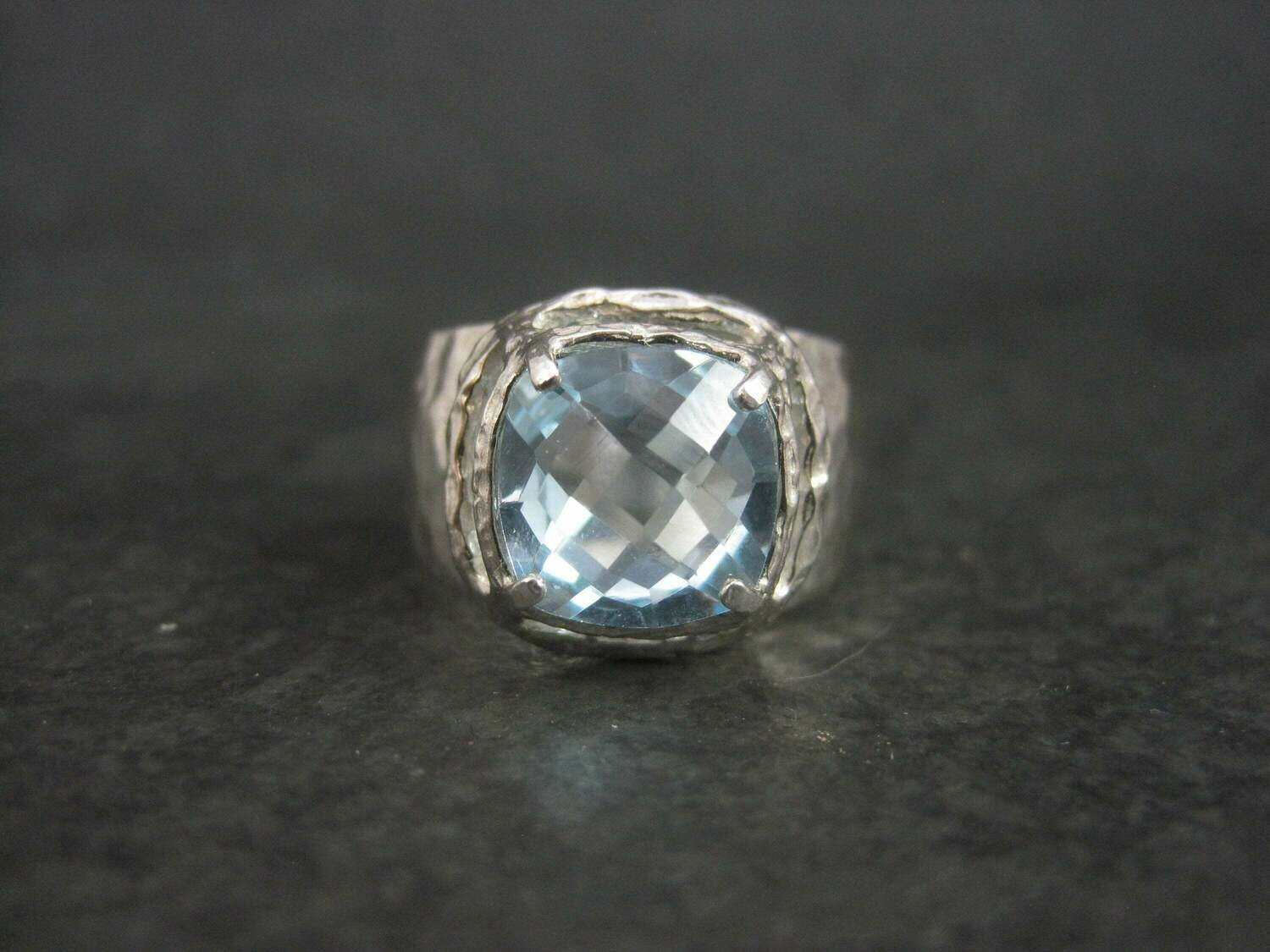 Hammered Sterling Silver Blue Topaz Ring Size 9