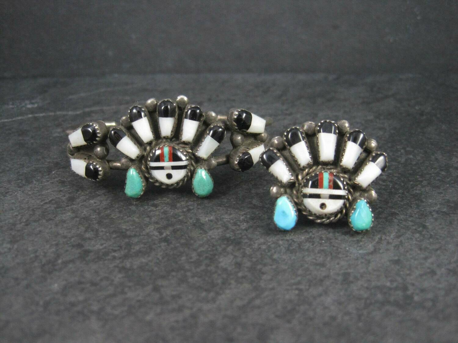 Vintage Sunface Jewelry Set Native American Cuff Bracelet and Ring Size 10