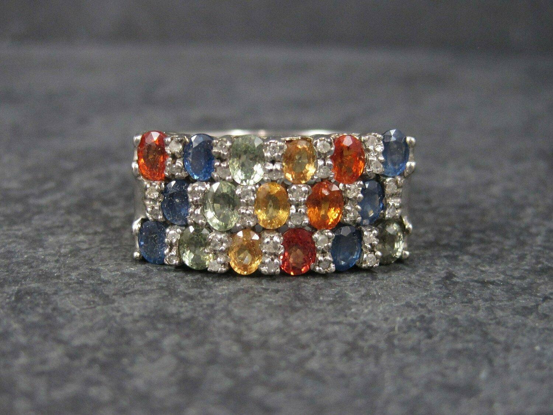 Vintage Sterling Sapphire Diamond Ring Sz 13