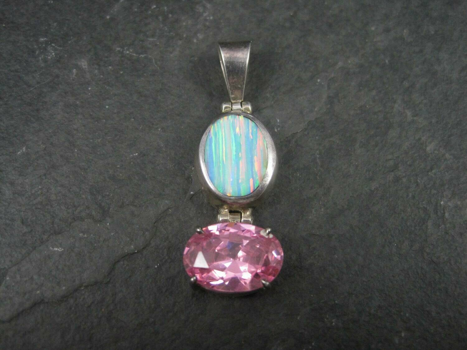 Vintage Mexican Sterling Opal Pink CZ Pendant