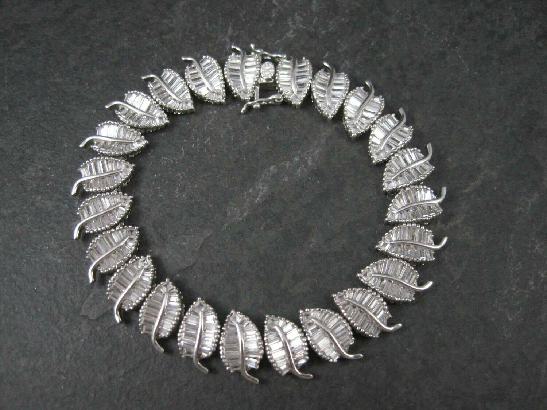 Sterling Cubic Zirconia Leaf Bracelet 8 Inches