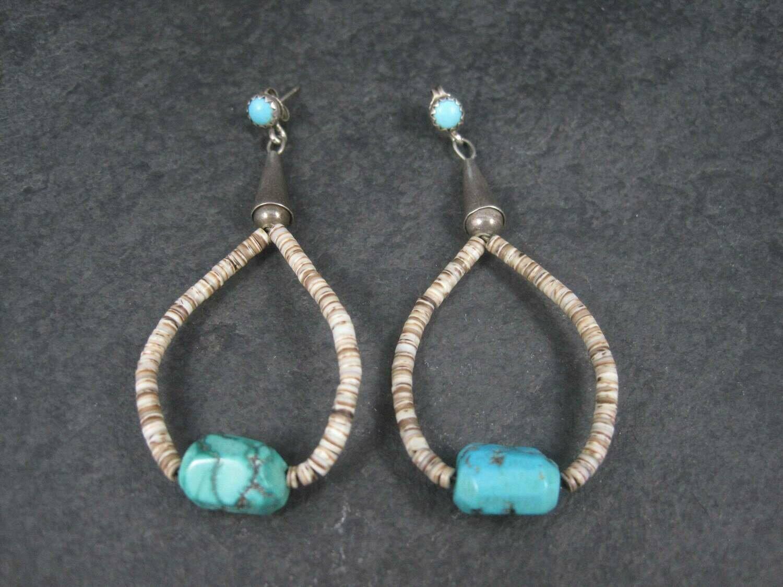 Vintage Southwestern Sterling Heishi Shell Turquoise Earrings