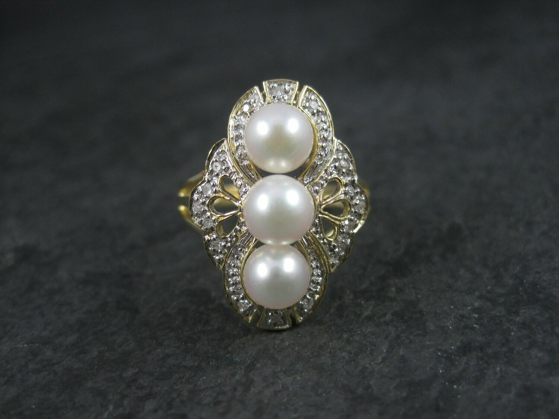 Vintage 14k Two Tone Pearl Diamond Ring Size 7