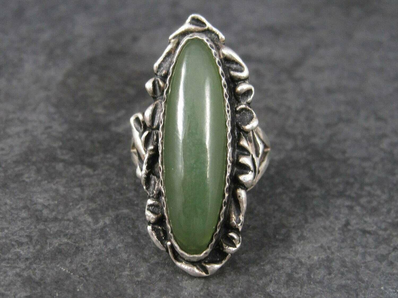 Handmade Vintage Sterling Jade Ring Size 7