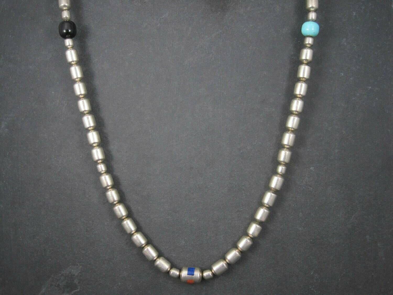 Heavy Vintage Navajo Inlay Bead Necklace