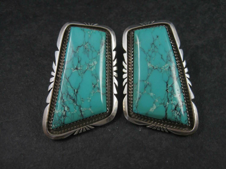 Large Vintage Sterling Turquoise Earrings Betty Bitsie