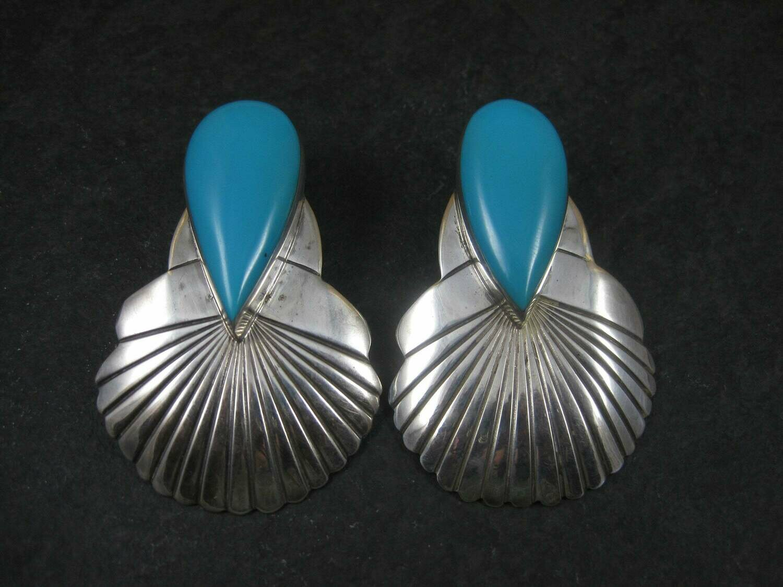 Large Vintage Navajo Turquoise Statement Earrings