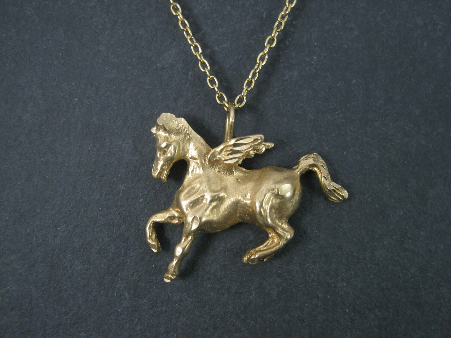 Vintage 14K Pegasus Pendant Winged Horse Necklace
