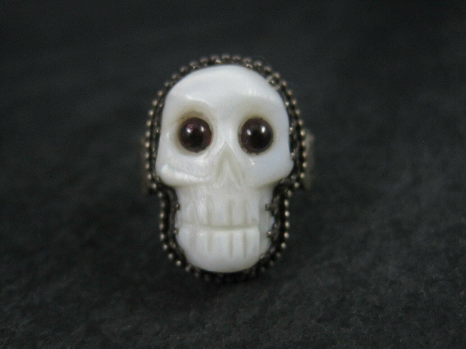 Carved Mother of Pearl Garnet Skull Ring Size 9.5