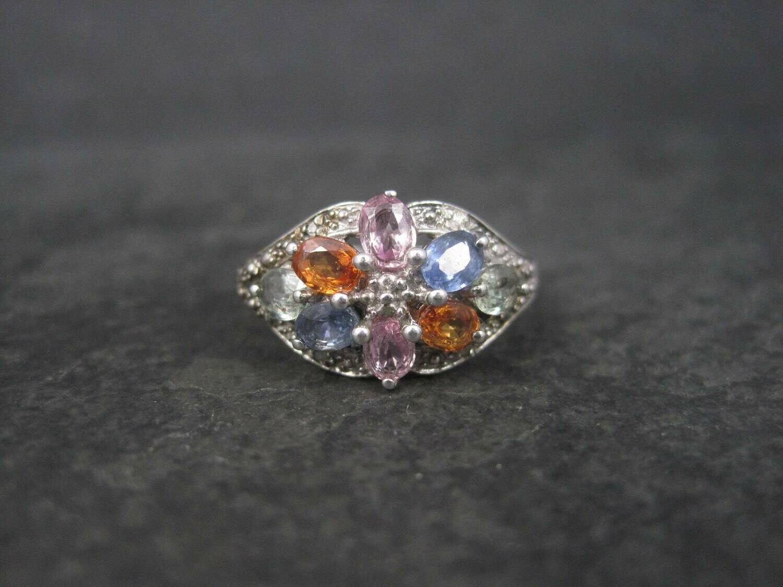 Vintage Sterling Multi Colored Topaz Ring Size 8