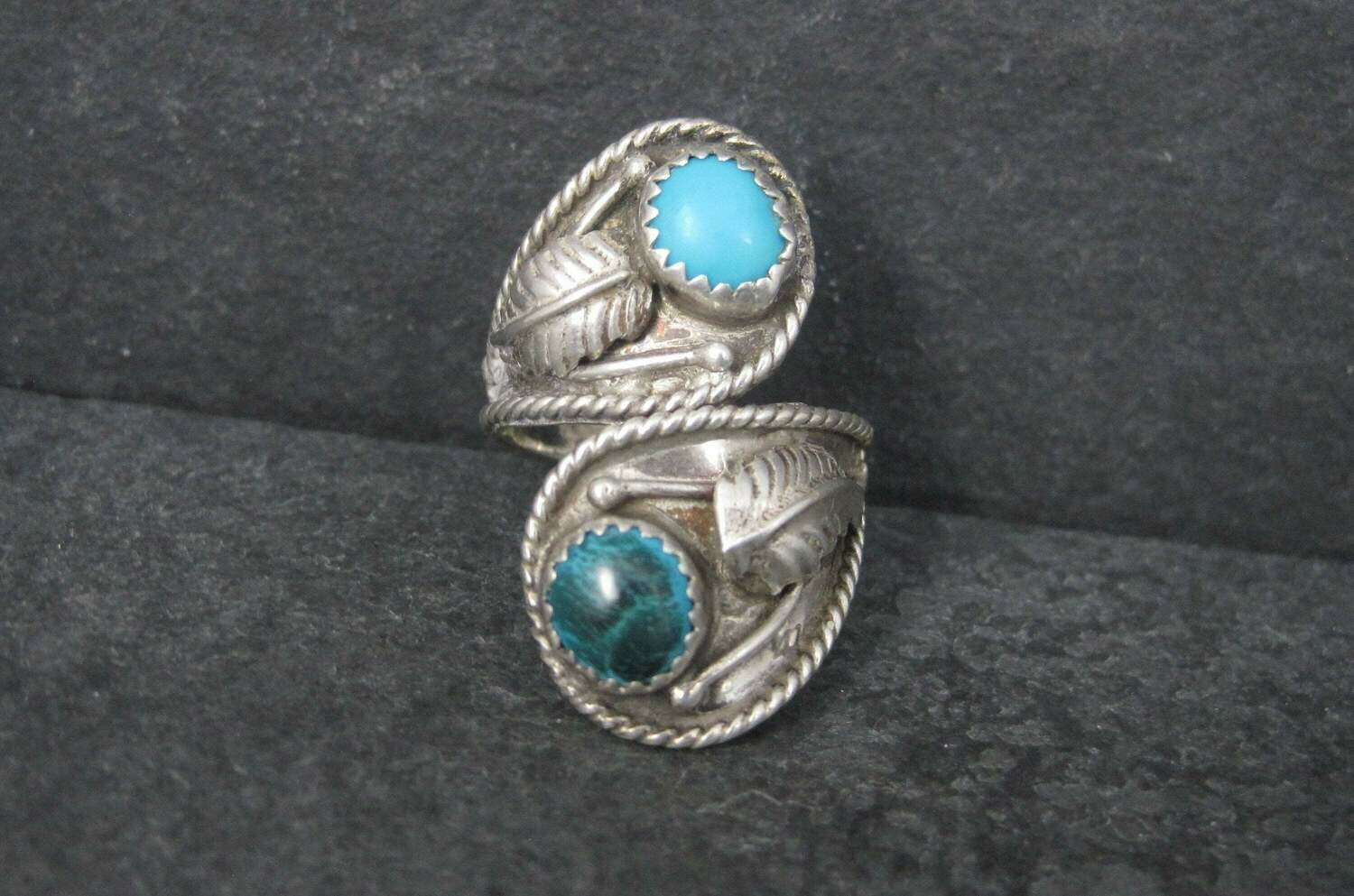 Vintage Southwestern Sterling Turquoise Crossover Feather Ring Size 7