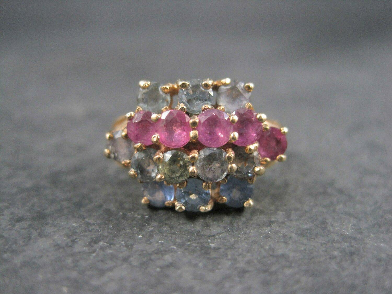 Unusual Vintage 10K Ruby Spinel Topaz Cluster Ring Size 7