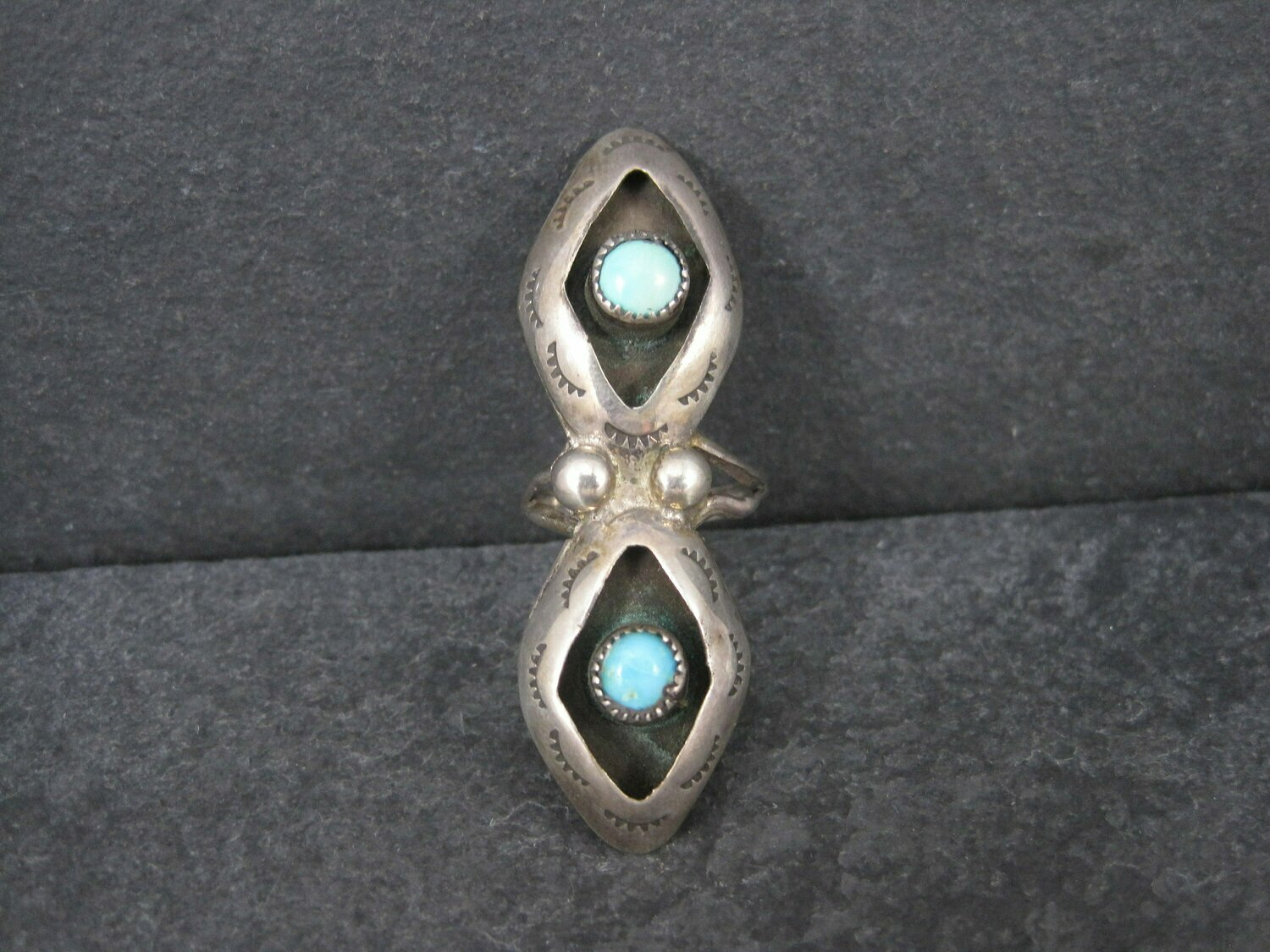 Long Vintage Turquoise Shadowbox Ring Dead Pawn Size 5