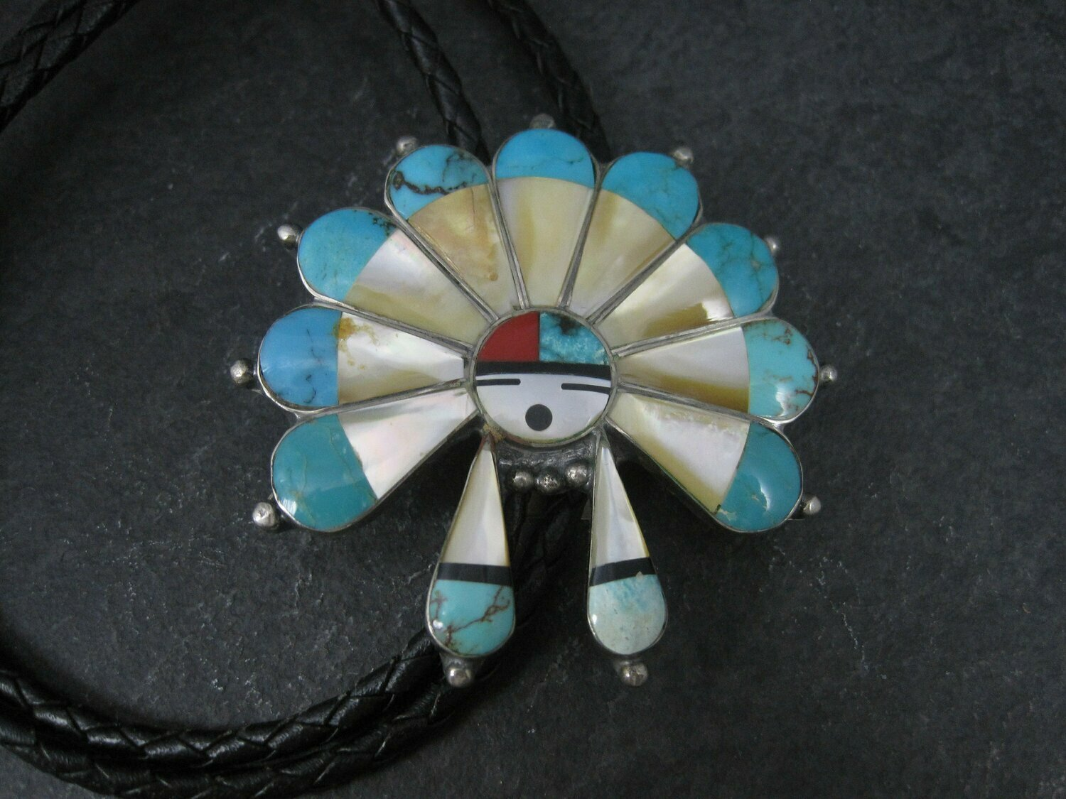 Large Vintage Sterling Turquoise Inlaid Sunface Bolo Tie