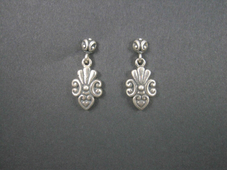 Vintage Sterling Victorian Style Heart Earrings