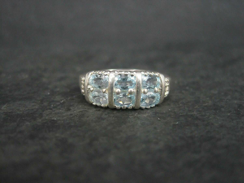 90s Sterling Blue Topaz Ring Size 6