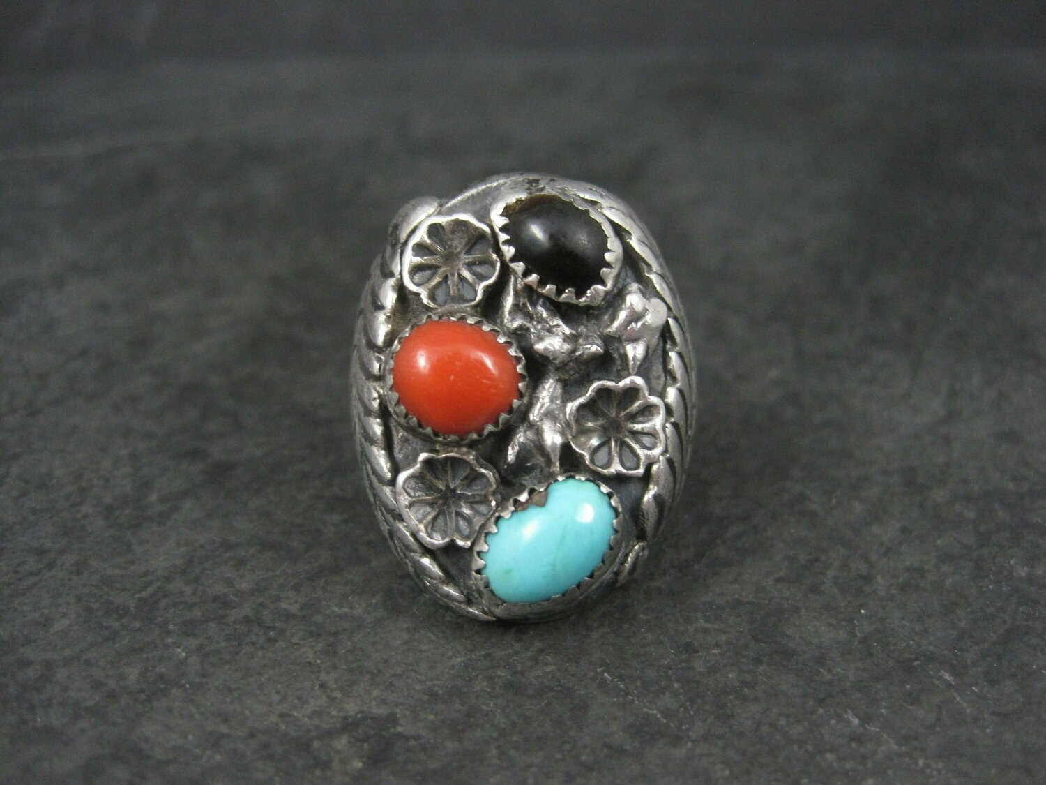 Heavy Vintage Navajo Coral Turquoise Tigers Eye Ring Size 9 Frances Jones