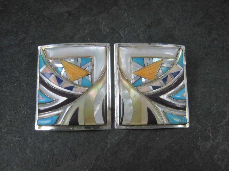 Large Southwestern Sterling Inlay Earrings